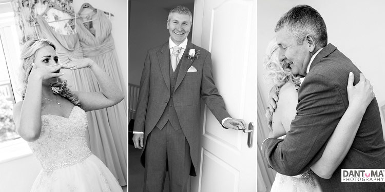 black and white wedding photos of dads first look